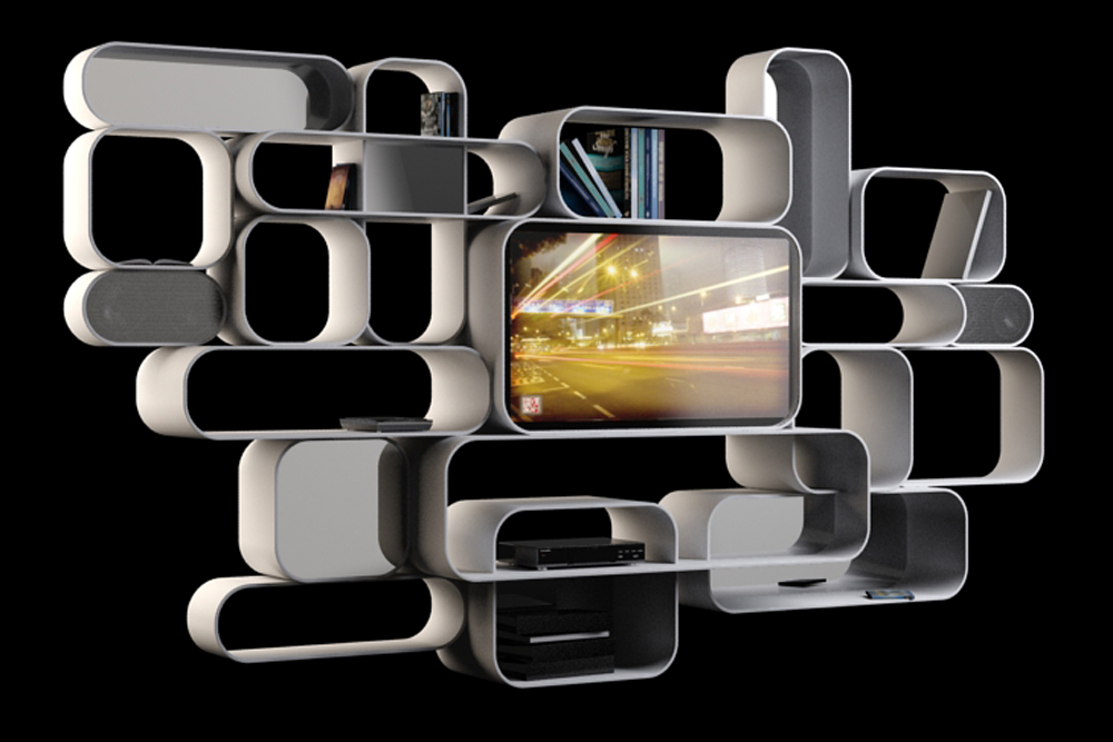Meuble tv int gr soul of pop chez dalcans design yook for Meuble tv hifi integre