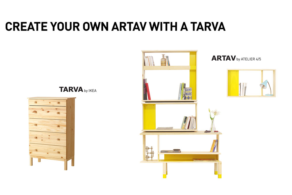 avec artav l atelier 4 5 revisite une commode classique d ikea en biblioth que yook. Black Bedroom Furniture Sets. Home Design Ideas