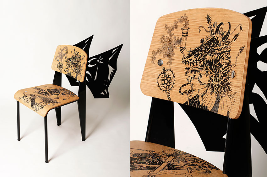 50 artistes revisitent la chaise standard de jean prouv yook. Black Bedroom Furniture Sets. Home Design Ideas