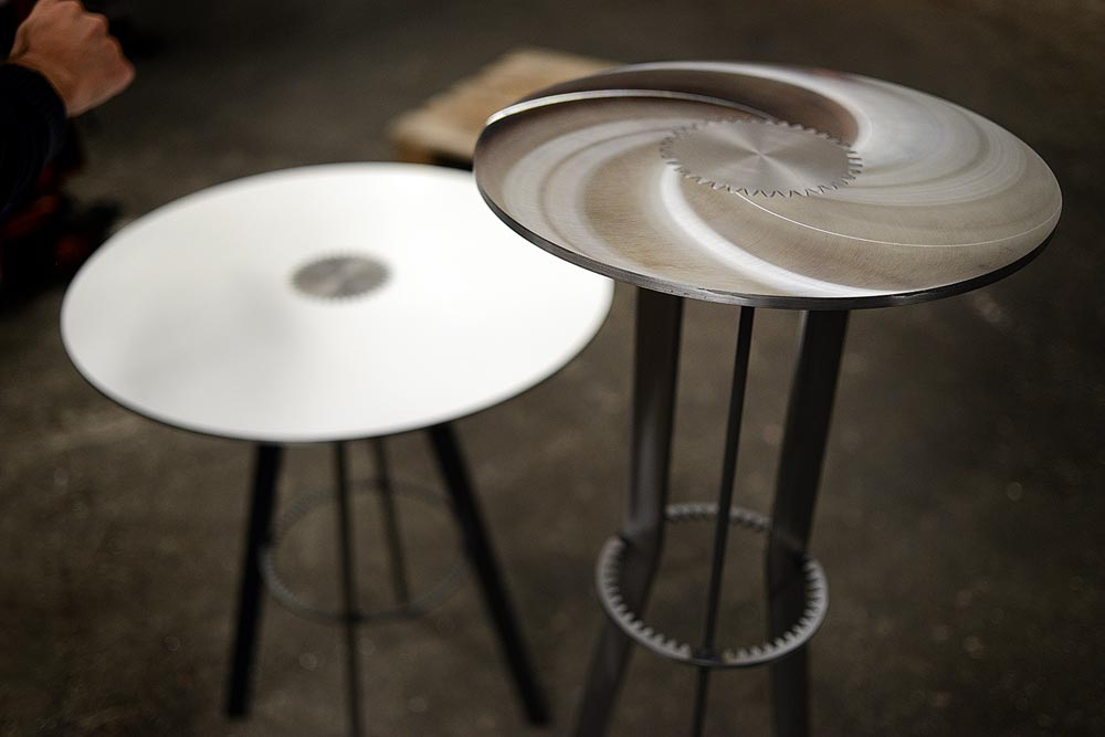 Tables 3 / 4 / 5 d'Amaury Poudray pour Remy Barrere Gears / Paris Design Week 2014 / Now! le Off à Dock en Seine / Yooko