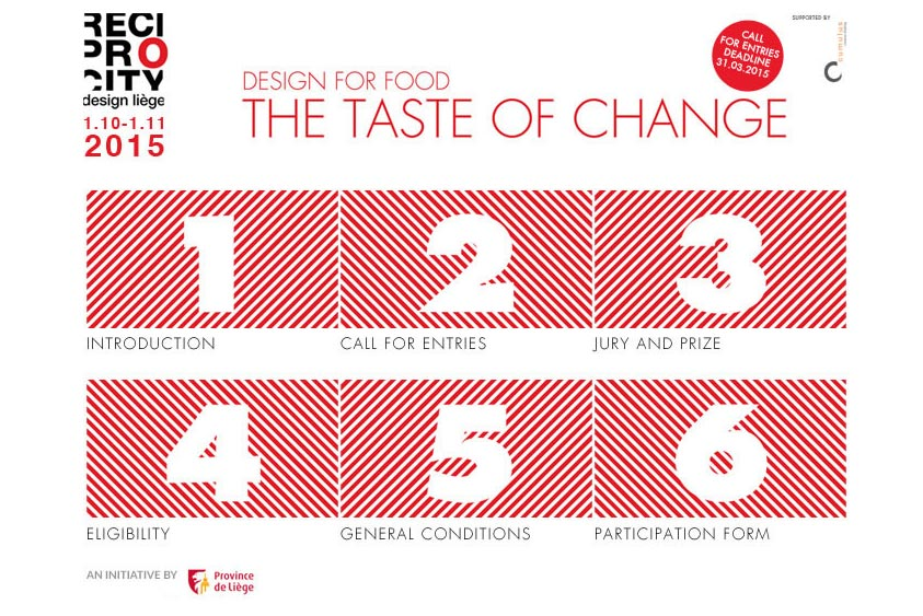 Appel à projets  Design for food - The Taste of change - RECIPROCITY design Liège 2015 / Yookô Media partner