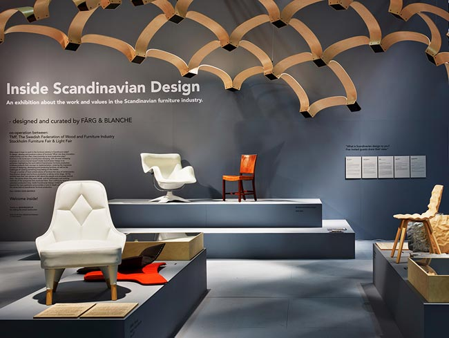 Sc nographie architecturale pour inside scandinavian for Furniture design exhibition
